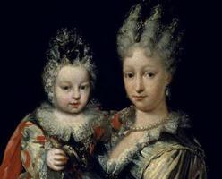 Isabel de Farnesio con su hijo mayor, Carlos
