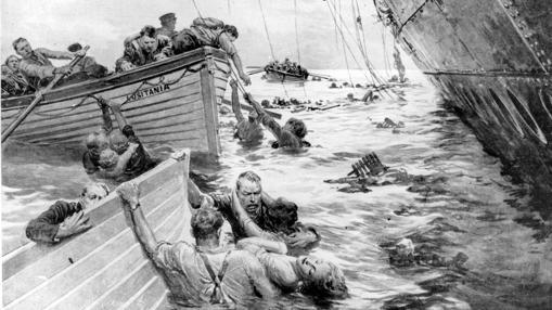 Grabado de la catástrofe del Lusitania publicado en «The Sphere» el 15 de mayo de 1915