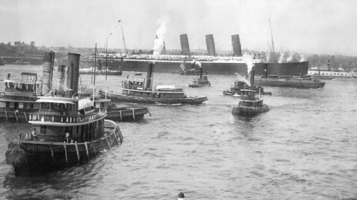 El Lusitania, a su llegada al puerto de Nueva York en 1907