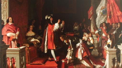 Felipe V condecorando con el Toisón de Oro a James FitzJames, después de Almansa