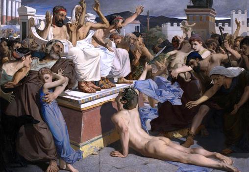 Pintura de la llegada de Fidípides a Atenas, por Luc-Olivier Merson,