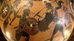 Escena de ánfora de figuras negras de Atenas (siglo VI a. C., Museo del Louvre).