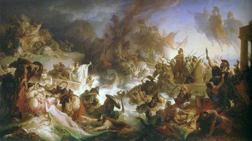 La batalla de Salamina, óleo sobre tela pintado en 1868 por Wilhelm von Kaulbach