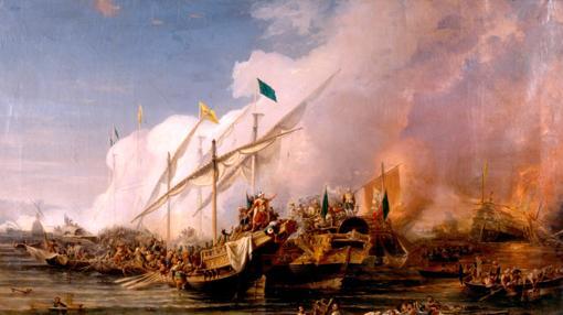 Barbarroja, nombrado por Solimán almirante en jefe de la flota otomana, derrotó a la Liga Santa de Carlos V al mando de Andrea Doria en la Batalla de Preveza en 1538
