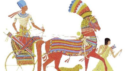 El faraón, sobre su carro de guerra (dibujo de Ippolito Rosellini)