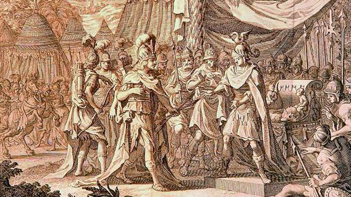 Talestris, reina de las amazonas, visitando a Alejandro Magno