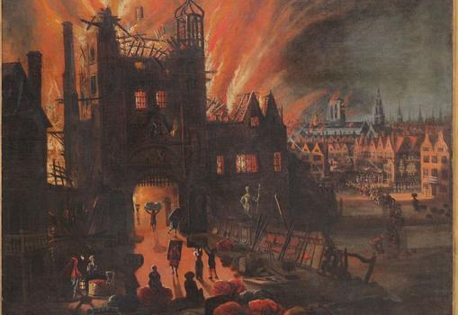 Ilustración que muestra a destrucción de la Catedral de San Pablo