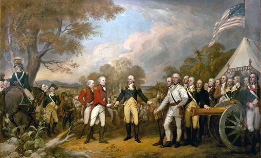 La rendición de Burgoyne tras la Batalla de Saratoga.