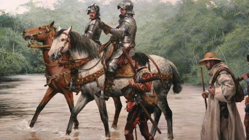Extracto de un cuadro de Ferrer-Dalmau en el que se muestra a Cortés camino a Tenochtitlán