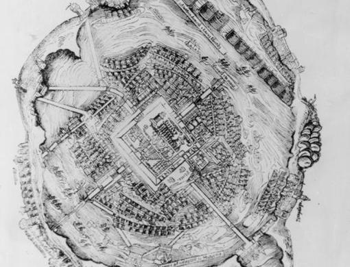 Plano de la ciudad de Tenochtitlan, de un grabado de madera de la edición de las cartas de Cortés al emperador CArlos V, impresa en Nurenberg en 1524