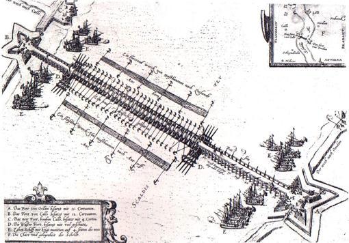Esquema del Puente Farnesio sobre el Escalda.
