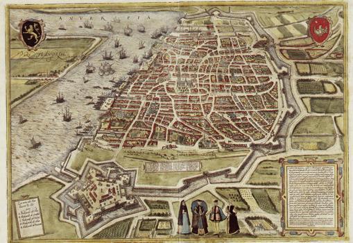 El plano de Amberes, hacia 1571, rodeado de agua