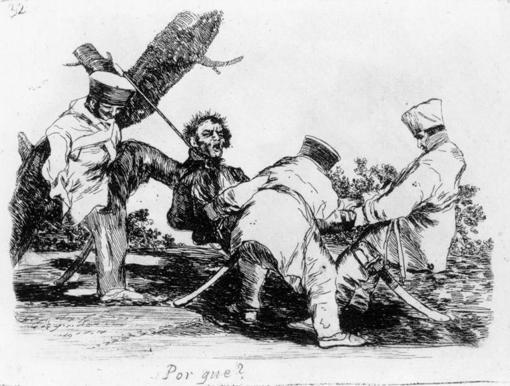 Los soldados franceses cuelgan a un español
