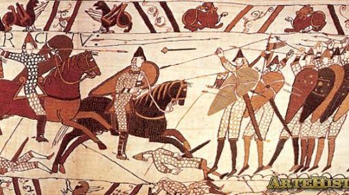 La batalla de Hastings, en el tapiz de Bayeux