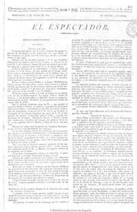 Edición original de «El Espectador» del 25 de julio de 1821