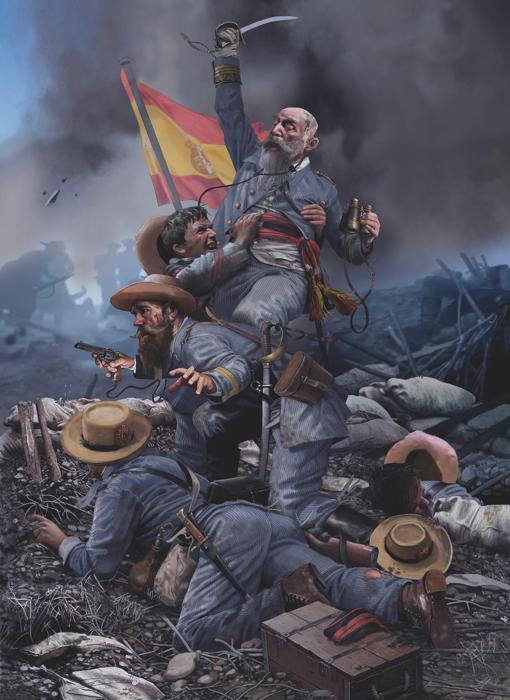 El general Vara de Rey durante la batalla de El Caney