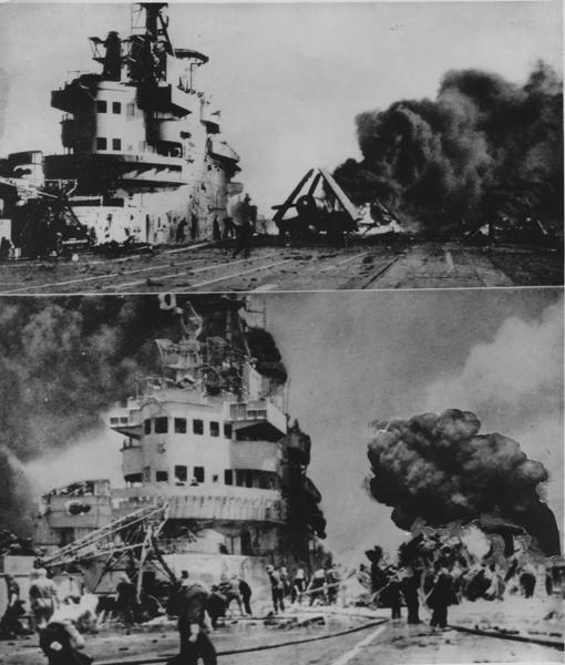 Dos interesantes fotografías de la guerra en aguas del pacífico, en las que pueden contemplarse los efectos del ataque de un avión suicida japonés contra un portaaviones británico