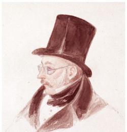Retrato de William Hay Macnaghten, con sus características gafas azules