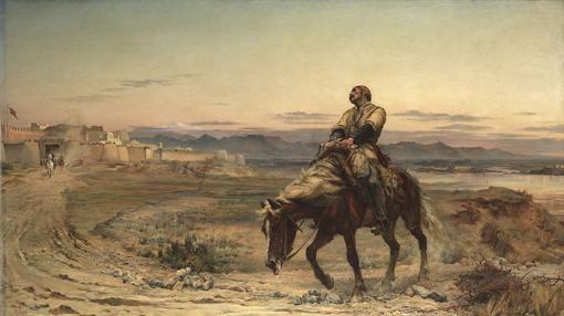 Cuadro del doctor Brydon a su llegada a Jalalabad sobre su caballo herido de muerte