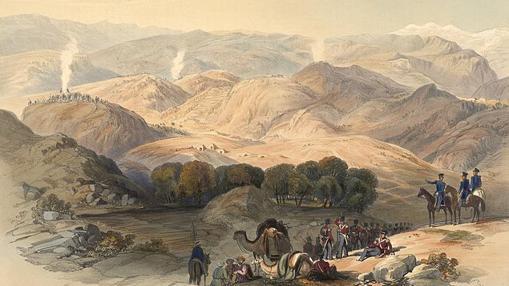 Dibujo del valle de Jugdulluk, donde el ejército de Elphinstone hizo su última parada