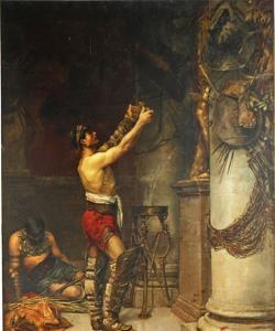 Gladiadores victoriosos ofreciendo las armas a Hércules guardián