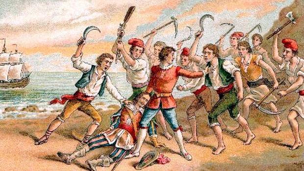 Ilustración de la Guerra de los Segadores, «Corpus de Sangre» de H.Miralles (1910).