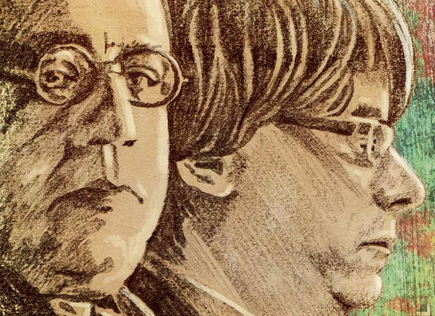 Ilustración en la que pueden verse al Manuel Azaña (izquierda), presidente del Gobierno durante la Segunda República fallecido en 1940, junto al actual presidente de la Generalitat, Carles Puigdemont