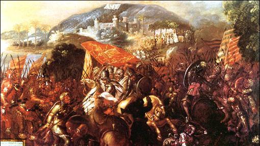Entrada de Hernán Cortés a la ciudad maya de Potonchán en Tabasco en 1519