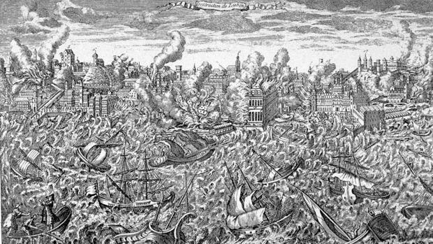 Grabado del terremoto de Lisboa