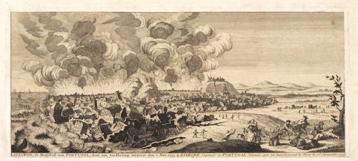 Grabado holandés del terremoto de Lisboa