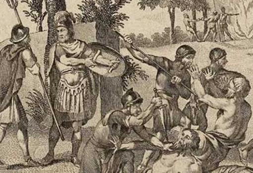 Soldados romanos asesinando druidas