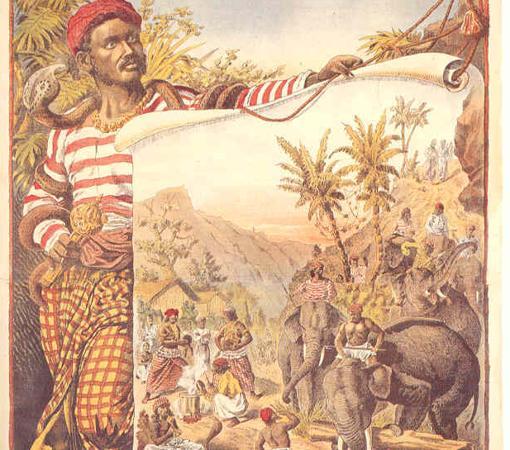 Cartel promocional del espectáculo de Carl Hagenbeck (1886)
