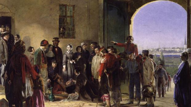 Nightingale recibiendo a los heridos en Scutari, Jerry Barrett