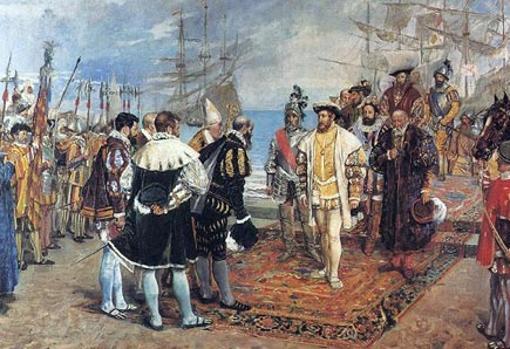 Desembarco de Francisco I en el puerto de Valencia. Óleo realizado en 1876 por Ignacio Pinazo
