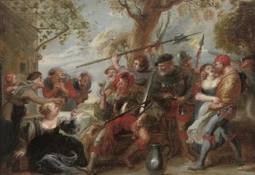 Cuadro costumbrista pintado por Rubens de Don Quijote y la Santa Hermandad