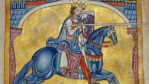 Alfonso IX de León y Galicia, representado en el Tumbo A de la catedral de Santiago de Compostela.