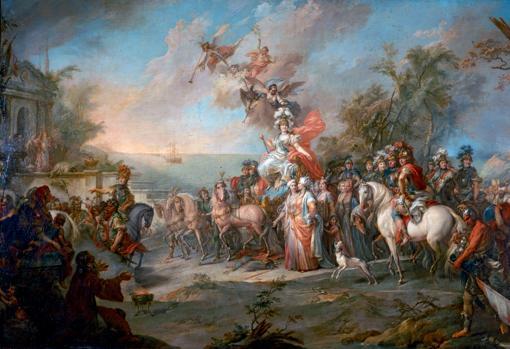 Alegoría de la victoria de Catalina sobre los turcos (Stefano Torelli, 1772).