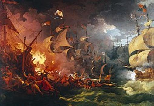 Derrota de la Armada Invencible, pintura de Philippe-Jacques de Loutherbourg (1796).