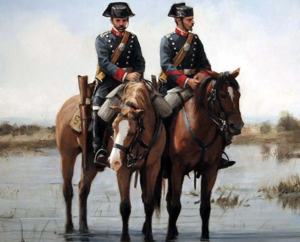 Guardias civiles a caballo en el siglo XIX