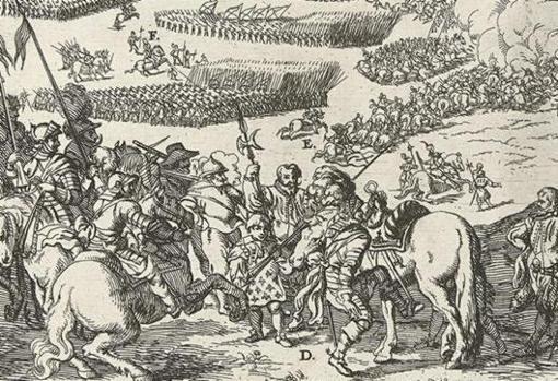 Grabado del siglo XVI que muestra a Alejandro Farnesio preparándose para dirigir la carga definitiva