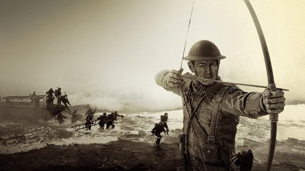 Ilustración de Jack Churchill, el oficial que combatió en la Segunda Guerra Mundial con arco y flechas