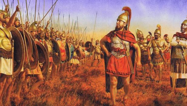Aníbal Barca arengando a sus tropas antes de entrar en batalla.