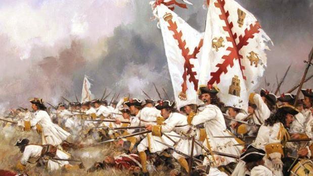 Regimiento Asturias, pintura de Augusto Ferrer Dalmau | Vídeo: Iglesias y la Cruz de Borgoña
