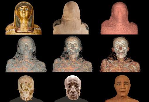 Reconstrucción del rostro de Nespamedu, momia del MAN, por el forense Juan Villa