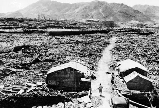 Fotografía tomada en de septiembre de 1945 en Hiroshima, un mes después de la explosión