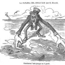 Dibujo satírico publicado en 1896 en el diario catalán La Campana de Gràcia, criticando la actitud de EE. UU. hacia Cuba.