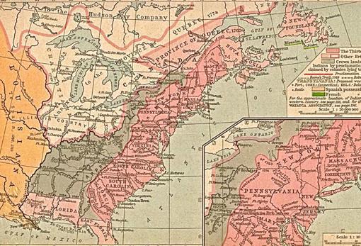 Mapa de las 13 Colonias de Norteamérica