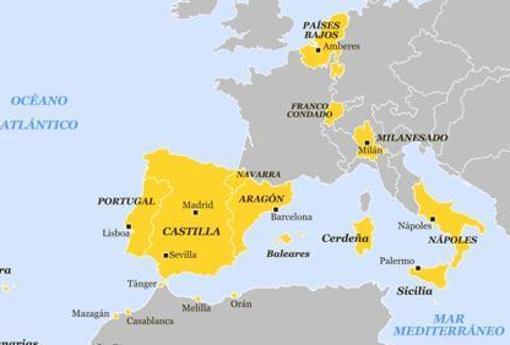 Dominios europeos y norteafricanos de Felipe II hacia 1580