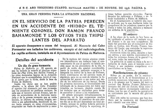 Página que explica la muerte de Ramón Franco