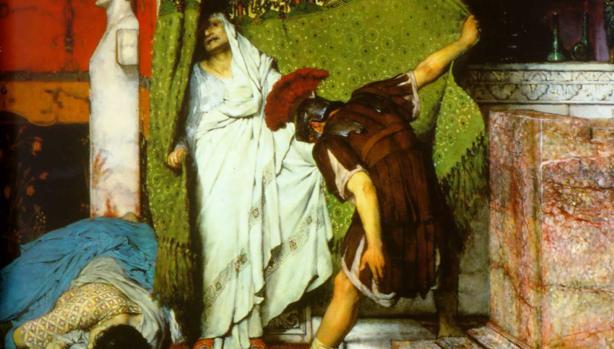 Grato proclama a Claudio emperador. Detalle del cuadro A Roman Emperor 41AD (Un emperador romano, 41 d. C.)